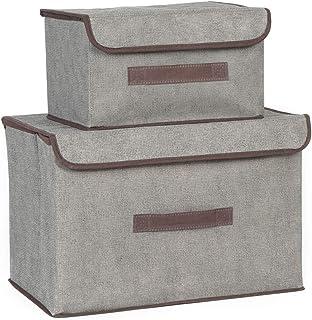 KHDJ Boîtes de Rangement Boîte Pliante avec Couvercle Fendu - Boîtes de Rangement avec poignée, boîte de Rangement Pliable...