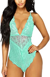 V-Neck See Through Lingerie Floral Lace Babydoll Sexy Lingerie for Women One Piece Bodysuit