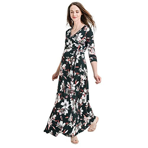1eb53fcc71978 Hello MIZ Women's Floral Print Draped 3/4 Sleeve Long Maxi Maternity Dress