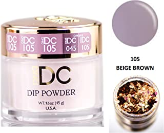 DND DC Neutrals DIP POWDER for Nails 1.6oz, 45g, Daisy Dipping (with bonus side Glitter) Made in USA (Beige Brown (105))