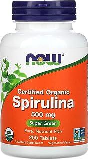مكمل اورجانيك سبيرولينا الغذائي من ناو فودز - 500 ملغ، اقراص 200