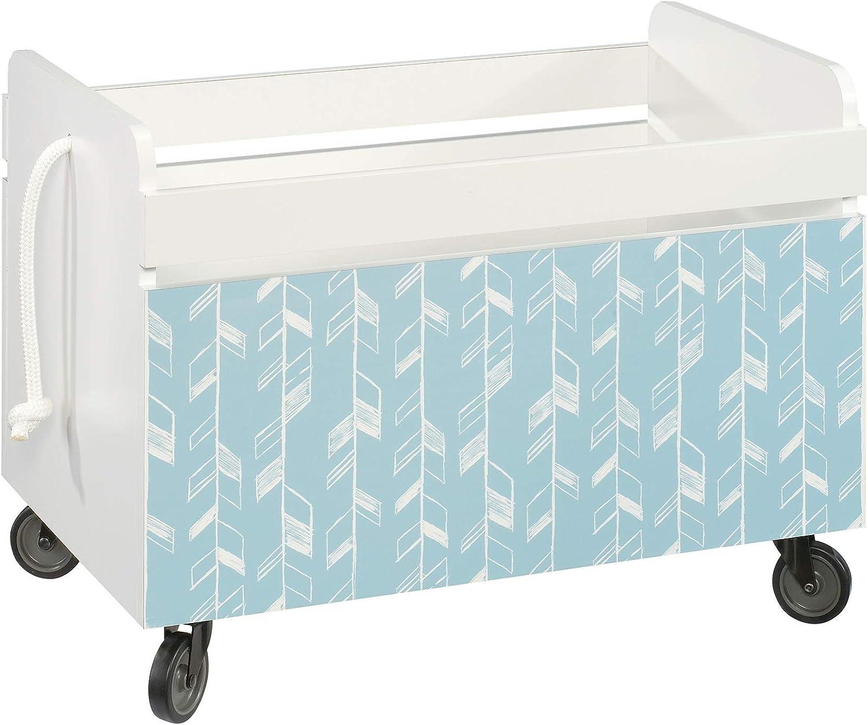 Sauder Pinwheel Wood Rolling Toy Box in Soft White