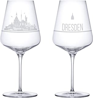 Weinglas 2er Set mit der Dresden Skyline als Gravur. Eine Ge