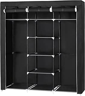 SONGMICS Portable Clothes Closet Non-woven Fabric Wardrobe Double Rod Storage Organizer Black, 59 x 17.7 x 69 Inches URYG12H