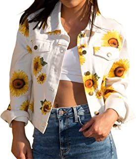 ECOWISH Women's Lapel Collar Jackets Floral Print Sunflower Button Down Short Coat Outwear Tops