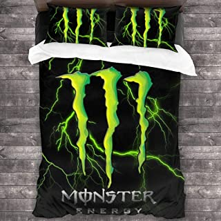 Cool Monster-Energy Logo Bedding Sheet Set Soft 3-Pieces Bed Sets Comfortable Duvet Cover + 2 Pillowcases Luxurious 86
