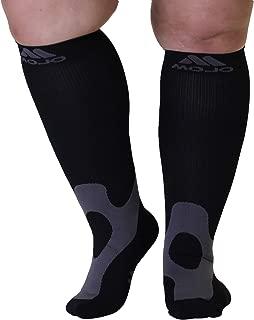 5XL Mojo Compression Socks 20-30mmHg EX-Wide Calf Compression Stockings Black