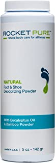 Natural Eucalyptus Foot & Shoe Deodorizing Powder for Athletes. Removes Odor, Stink From Bacteria. Better than Antiperspirant, Insoles, Sneaker Balls. Use on Feet, Socks, Shoes (1-5 oz Bottle)