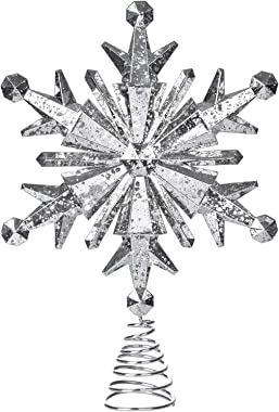 DearHouse 12.2 Inch Silver Snowflake Christmas Tree Topper Christmas Decorations, Christmas Tree Topper Star Treetop Decorati