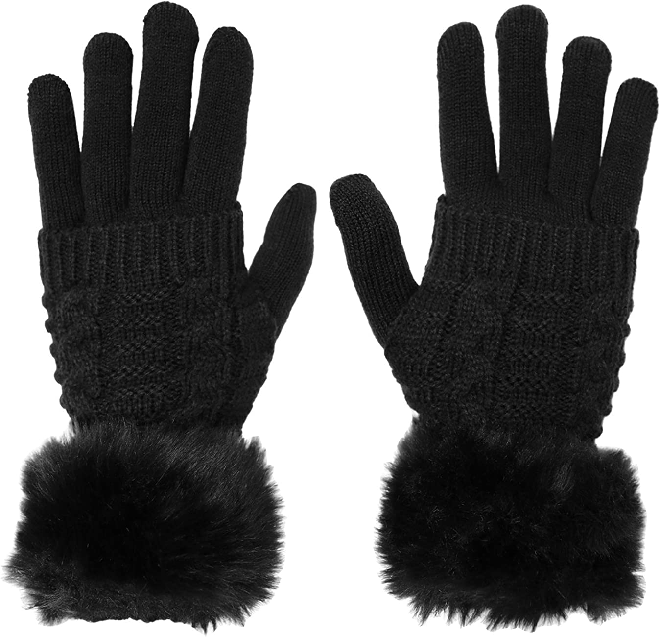 KMystic Women's Knit Gloves and Fur Hand Warmer Set