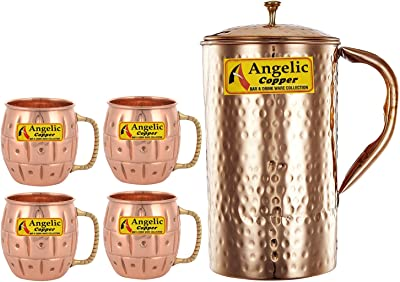 Angelic Copper Handmade Copper Jug with Designer Cup Set, Set of 4, Brown
