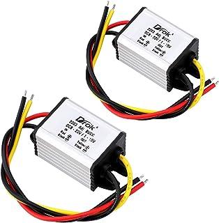 12v to 5v Converter, DROK 2pcs Waterproof DC Buck Converter Voltage Regulator Module 8V-22V 12 V Step Down to 1V-15V 5 V 6...