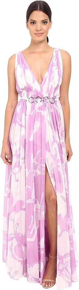 Sleeveless V-Neck Print Blocked Chiffon Gown