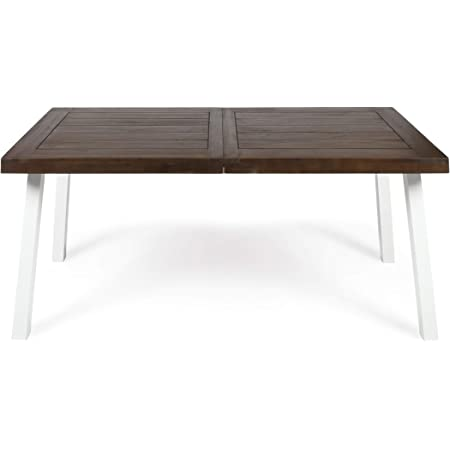 Christopher Knight Home Della Outdoor Acacia Wood Dining Table with Metal Legs, Dark Brown / White Rustic Metal