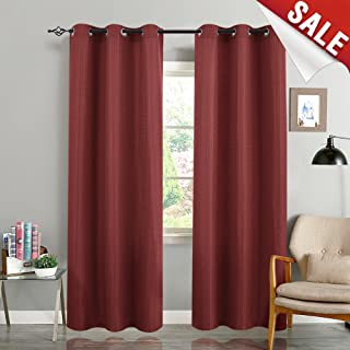 jinchan Curtains for Living Room 84 inches Length Waffle Weave Textured Room Darkening Bedroom Window Treatment Set Burgundy 2 Panels