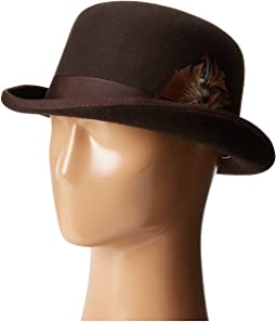 Wool Felt Derby Hat with Grosgrain Trim