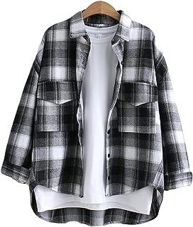 (ニカ) レディース シャツ 長袖シャツ チェック柄 シャツ ゆったり ファッション シンプル ブラウス トップス 薄手 tシャツ ストレート シャツ polo襟 ワンシャツ
