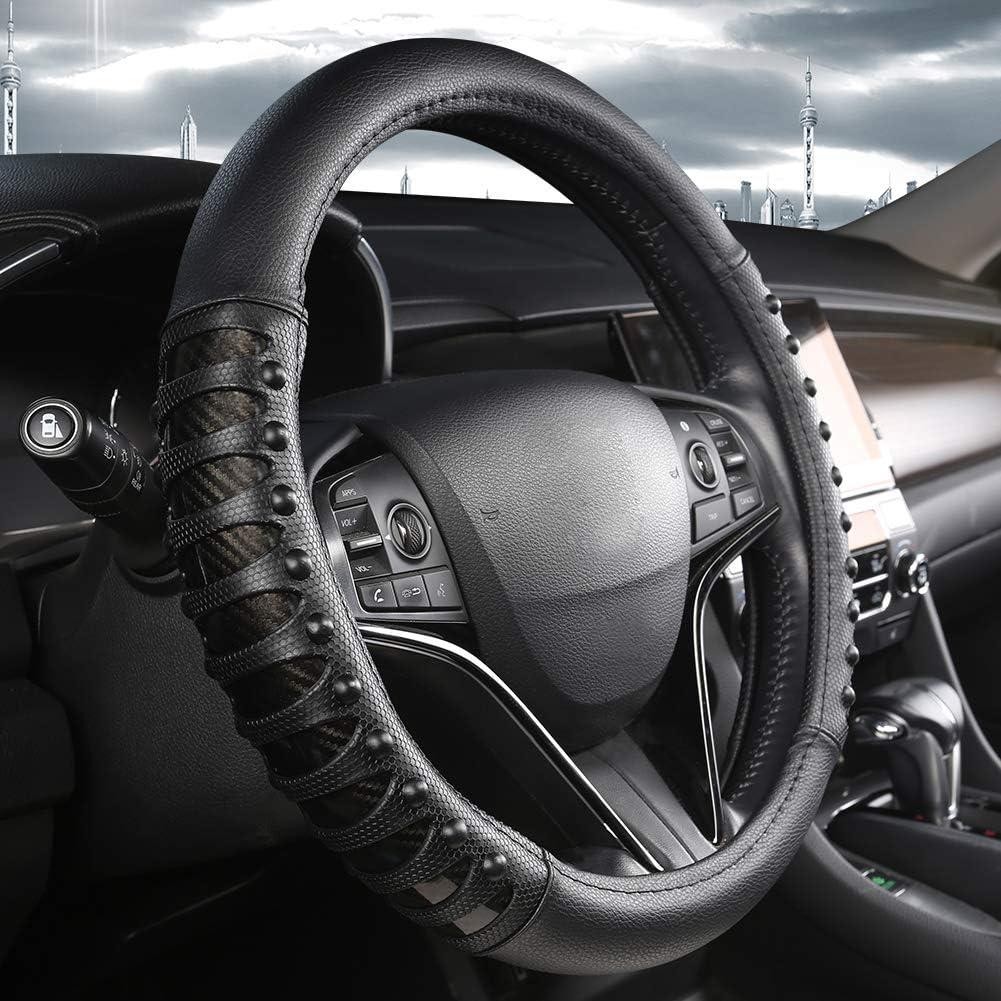 Cubre Volante Coche West Llama con diseño Antideslizante de uñas de Cuero, 15 Pulgadas - Negro