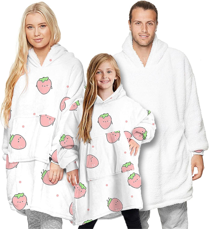 Betusline Parent-Child Outfit Oversized Wearable Sweatshirt Blankets for Adults Women Men Kids