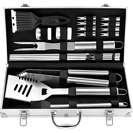 ROMANTICIST 20pcs Stainless Steel Barbecue Tools Set - Professional Stainless Steel Barbecue Accessories Kit for Men Dad Women - Perfect Grill Gift on Father's Day Christmas Birthday