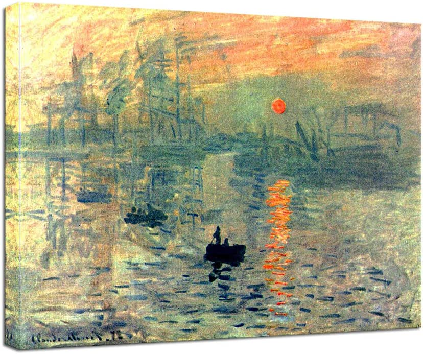 Wieco Art Impression Sunrise By Claude Monet Famous Oil Paintings Reproduction Modern Framed Giclee Canvas Prints Seascape Artwork Sea Pictures On Canvas Wall Art For Living Room Home Decorations Posters Prints Amazon Com