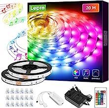 Lepro Ledstrip, 20 m (2 x 10 m), met afstandsbediening, RGB-dimbare lichtbalk, lichtstrip voor muziek, kerstversiering