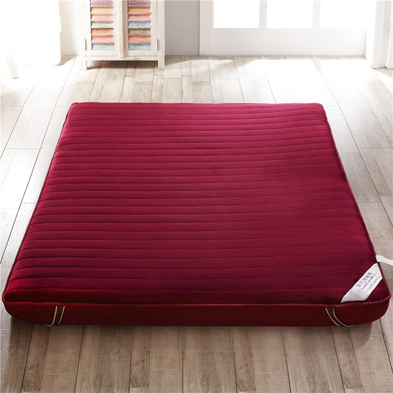 Flannel-Thickened Foldable Cushion mats, Tatami Floor mat Double Mattress Portable Camping mat Slip futon Mattress Topper-B 90x190cm(35x75inch)