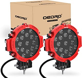 OEDRO 7 Inch 51W LED Light Bar, Round Spot Light Pods Off Road Driving Lights Fog Bumper Roof Light for Boat, Jeep, SUV, Truck, Hunters, Motorcycle, 2 years Warranty (Red Cover)
