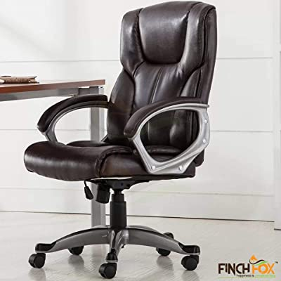 Finch Fox Ergonomic High Back Leatherette Desk Executive/Employee/Staff/Office Chair with and Imported Base for Office in (Brown) Color