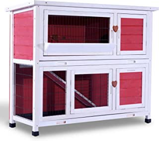 Lovupet 2 Story Outdoor Wooden Rabbit Hutch Chicken Coop Bunny Cage Guinea Pig House with Ladder for Small Animals 0323 (Red)