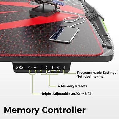 EUREKA ERGONOMIC 65 inch Electric Height Adjustable Standing Desk,Large Gaming Computer Desk with RGB LED Lights,Free Large E