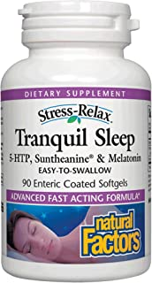 Stress-Relax Tranquil Sleep by Natural Factors, Sleep Aid with Suntheanine L-Theanine, 5-HTP, Melatonin, 90 Count (Pack of 1)