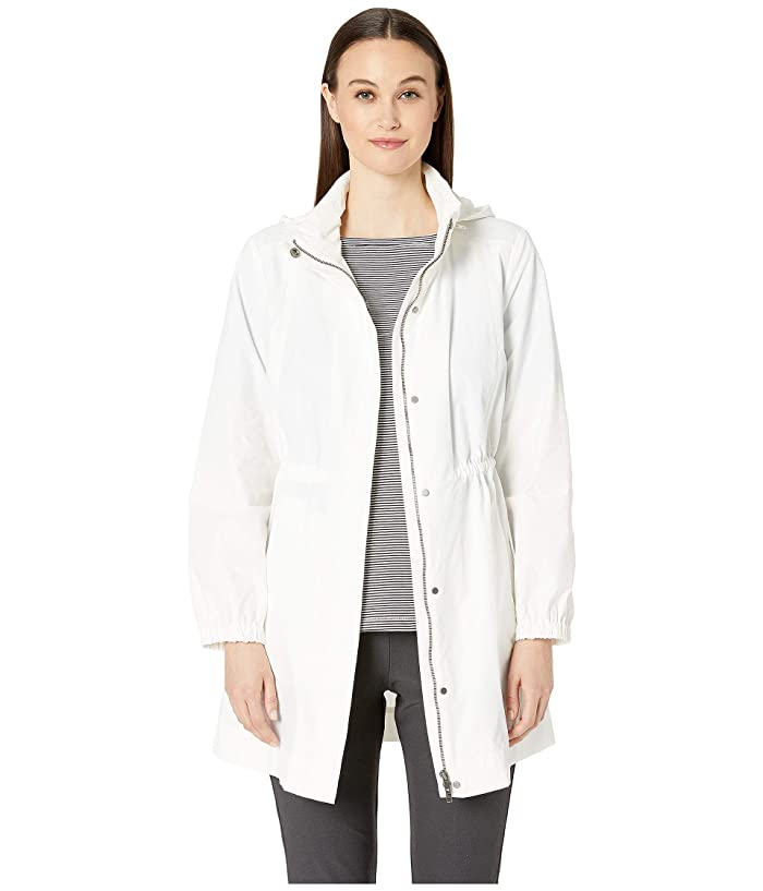 Eileen Fisher Light Organic Cotton Nylon Hidden Hood Long Jacket (Ivory) Women