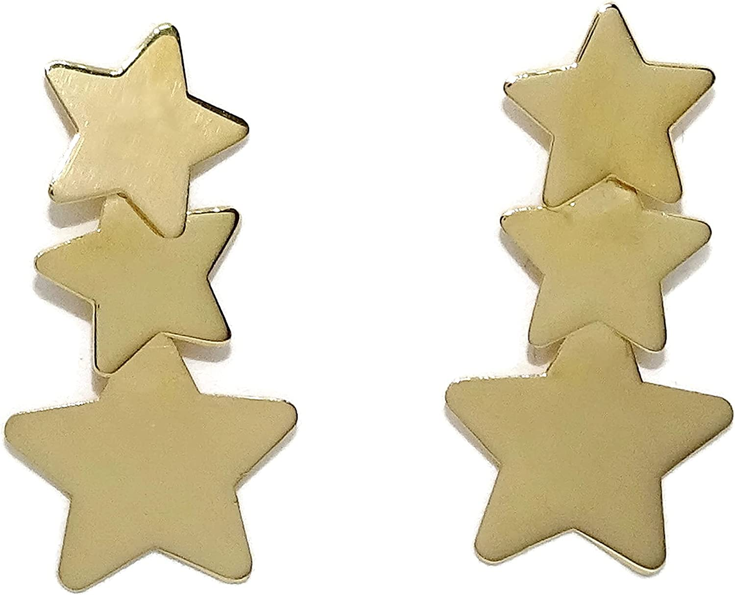 Chicago Mall 18K Yellow Gold Max 57% OFF 3 Stars Earrings Re Shiny Stud Drop