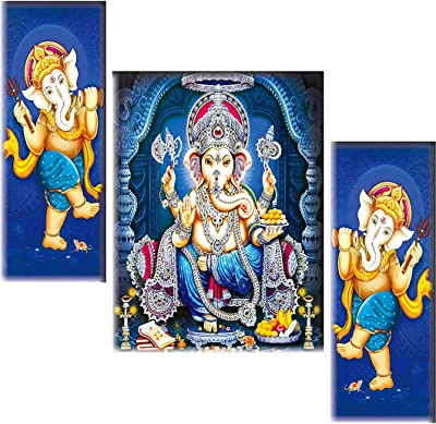 SAF Set of 3 Ganesha UV Textured self adeshive Home Decorative Gift Item Painting 18 Inch X 12 Inch