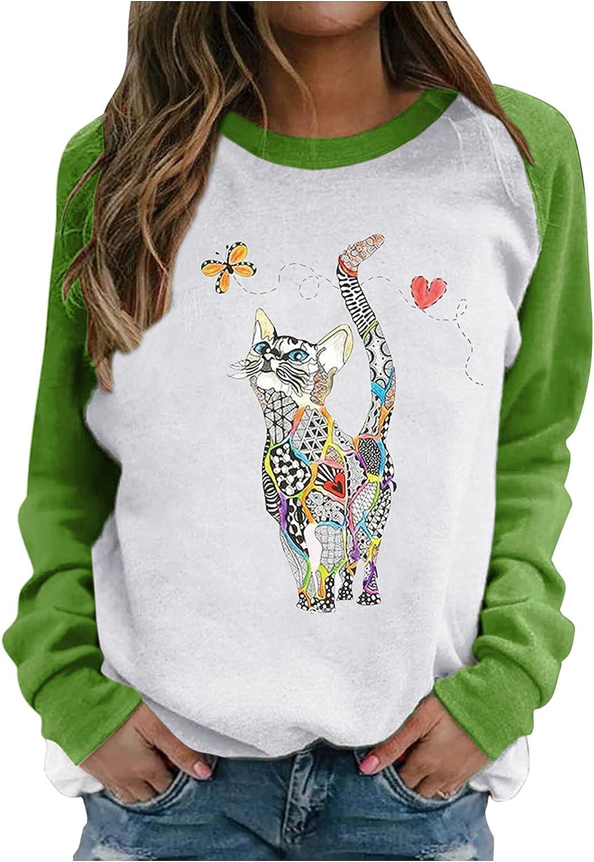 Toeava Crewneck Sweatshirts ,Women's Casual Graphic Print Floral Cat Pullover Color Block Long Sleeve Shirts Tops