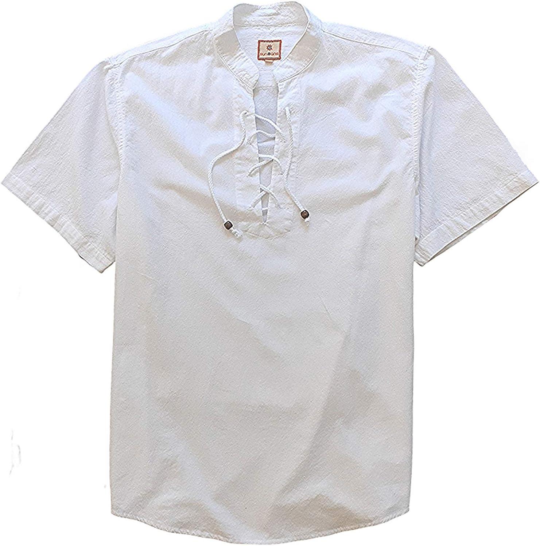 SUNINCANS Men's Casual Egyptian Cotton Henley Top Short Sleeve V Neck Loose Shirt