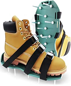 Lawn Aerator Shoes with Spikes and Metal Buckle Loop Straps Easy to Use Heavy-Duty Premium Tools, Adjustable, Comfortable, Manual One-Size-Fits-All, Aerating Tool for Effectively Aerating Lawn Soil