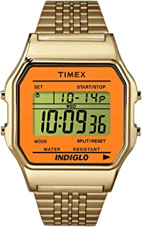 Unisex Digital Watch | Retro Orange Case Gold-Tone Band | TW2P65100