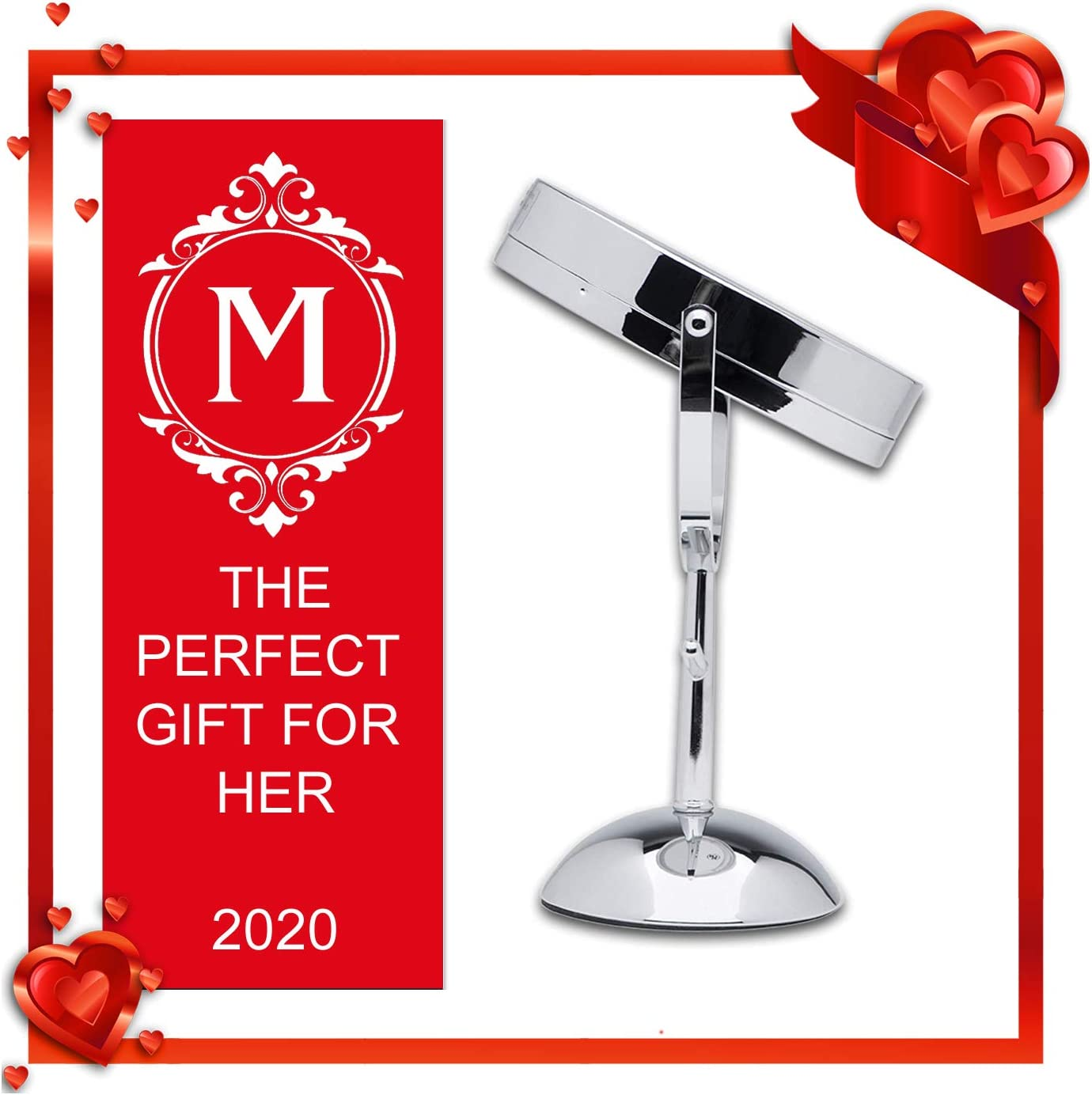 Espejo con luz para maquillaje Mirrorvana 7-Inch Dual-Sided Magnifying LED Lighted Vanity Makeup Mirror with Jewelry Hooks 1X and 5X Magnification
