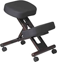 Office Star Ergonomically Designed Knee Chair with Casters, Memory Foam and Espresso Finished Wood Base, Black