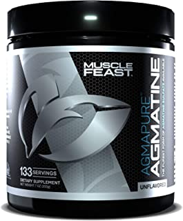 MUSCLE FEAST Agmapure Agmatine, Highest Purity Available, N.O. Boost, Increase Endurance, 133 Servings, Unflavored (200 Gr...