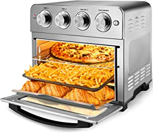 Geek Chef Air Fryer Toaster Oven, 6 Slice 24QT Convection Airfryer Countertop Oven, Roast, Bake, Broil, Reheat, Fry Oil-Free, Cooking Accessories Included, Stainless Steel, Silver, 1700W