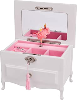 Art Lins Natalie Ballerina Music Jewelry Box with Lock and Drawer White