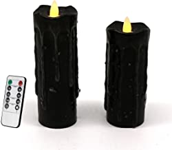 CVHOMEDECO. Real Wax Hand Dipped Battery Operated LED Pillar Candles with Remote Control, Primitives Country Flickering Da...