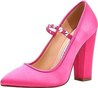 b4b928abaedc ElegantPark Women Pointed Toe Block High Heel Mary Jane Evening Party Dress  Shoes Rivet