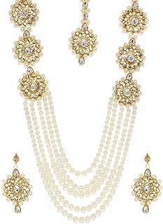 Zaveri Pearls Long Multi Layer Kundan & Pearl Necklace Set For Women-ZPFK7637