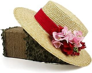 XinLin Du 2018 new sun red straw boater hat for women summer hat, wedding guest hat