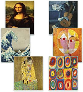 Creanoso Famous Art Paintings Posters (6 Pack) – Great for Home Kitchen Office Wall Hanging Decorations – Unique Stocking Stuffers Gifts Token Giveaways for Men Women Employees