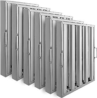 VBENLEM Set of 6 Restaurant Hood Filter 20 x 25 Inch 430 Stainless Steel Hood Filter with 4 Grooves Range Hood Filter for Commercial Kitchen